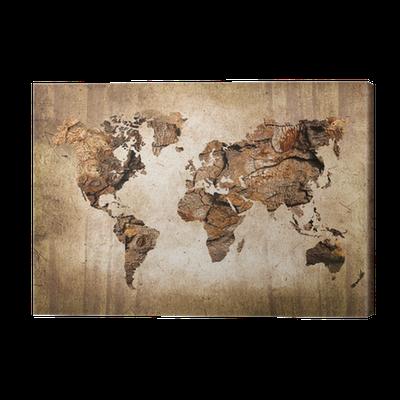 tableau sur toile carte du monde vintage en bois pixers nous vivons pour changer. Black Bedroom Furniture Sets. Home Design Ideas