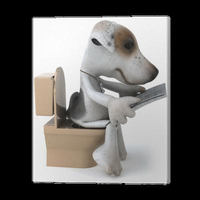 tableau sur toile chien et wc pixers nous vivons pour changer. Black Bedroom Furniture Sets. Home Design Ideas