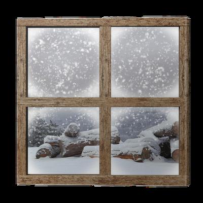 tableau sur toile l 39 ext rieur d 39 hiver voir avec la pile de bois de chauffage de fen tre en bois. Black Bedroom Furniture Sets. Home Design Ideas