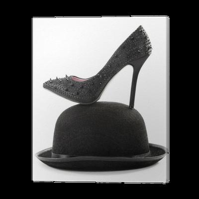 Tableau sur toile noir talons hauts pompe chaussures avec - Tableau chapeau melon pomme verte ...