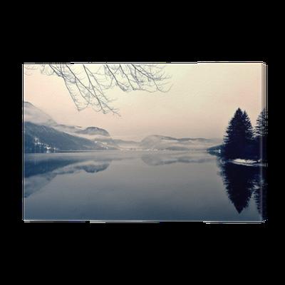 tableau sur toile paysage d 39 hiver enneig sur le lac en noir et blanc image monochrome filtr e. Black Bedroom Furniture Sets. Home Design Ideas