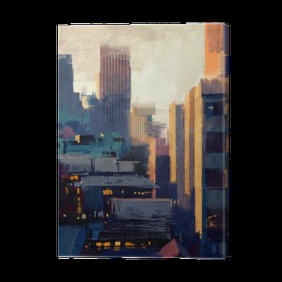 Tableau sur toile peinture de gratte ciel au coucher du soleil pixers nous vivons pour changer - Peinture sur enduit gratte ...