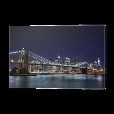 Tableau sur toile pont de brooklyn et manhattan skyline at - Toile pont de brooklyn ...