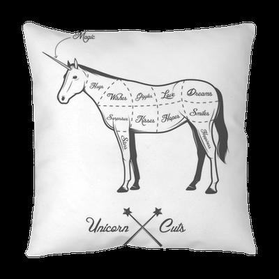 Funny Halloween Cuts Of Unicorn Diagram Throw Pillow Pixers We