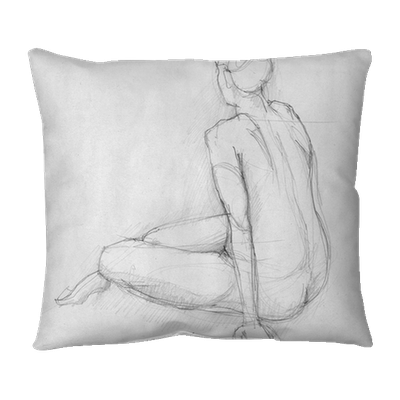 Sitting Figure Of A Naked Woman From Back View Crayon Sketch Throw Pillow Pixers We Live To Change