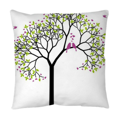 spring tree with love birds, vector Throw Pillow • Pixers® - We live to  change