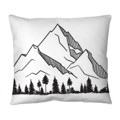 Vector Mountain With Texture Sketch Illustration With Quote The Mountain Are Calling And I Must Go Throw Pillow Pixers We Live To Change