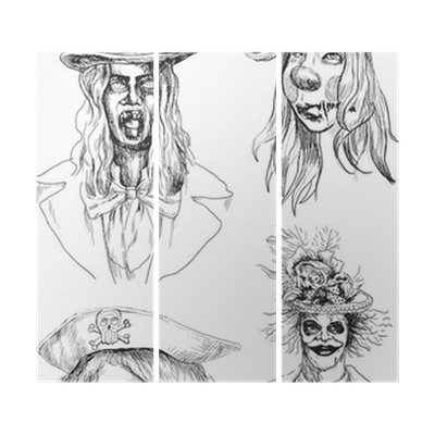 Horror Heads Collection Drawings Converted Into Vector Triptych Pixers We Live To Change
