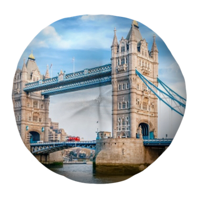 London Tower Bridge Am Tag Tufted Floor Pillow Round