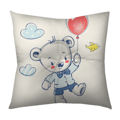 Cute Little Bear Flying On A Balloon Cartoon Hand Drawn