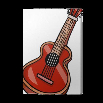 Akustik Gitar Karikatür Tuval Baskı Pixers Haydi Dünyanızı