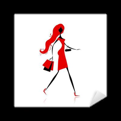 872e0e20dc230 Vinilo Pixerstick Chica de moda con bolsas de la compra para su diseño •  Pixers® - Vivimos para cambiar