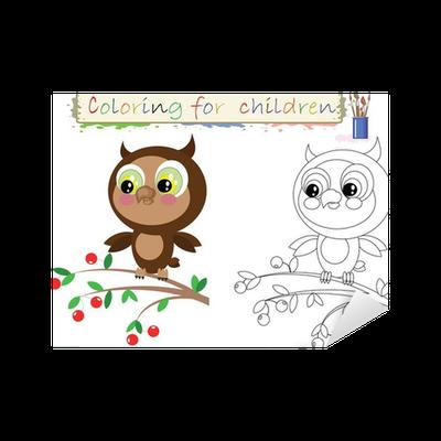 Vinilo Pixerstick Dibujos para colorear para niños, búho lindo ...