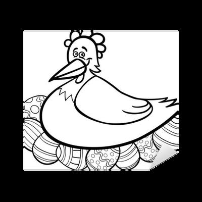 Vinilo Pixerstick Gallina para incubar huevos de Pascua de dibujos ...