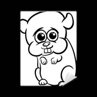 Vinilo Pixerstick Hámster bebé para colorear de dibujos animados ...