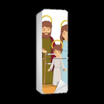 Vinilo Para Nevera Maria Jose Y Jesus Icono De Dibujos Animados Sagrada Familia Y El Tema De La Temporada De Navidad Feliz El Diseno Colorido