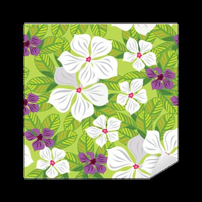 Vinilo Pixerstick Patron Floral Sin Fisuras Con Flores Blancas
