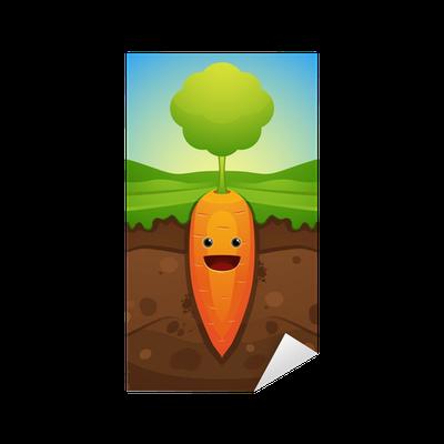 Vinilo Pixerstick Zanahoria Feliz Pixers Vivimos Para Cambiar Para el desayuno o merienda de los peques de casa. pixers