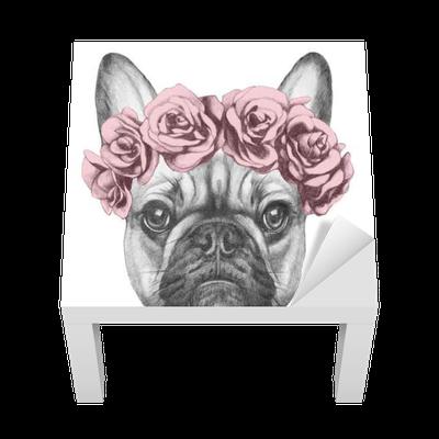vinil para mesa lack desenho original de buldogue francês com rosas