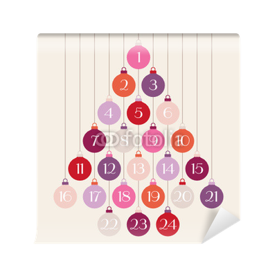 Advent Calendar Hanging Christmas Balls Tree Red Pink Purple Wall Mural O PixersR We Live To Change