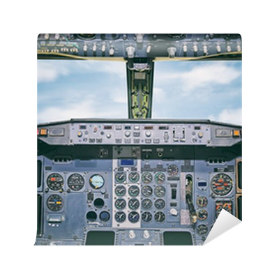 Aircraft dashboard view inside the pilot 39 s cabin wall for Cockpit wall mural