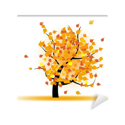 Autumn tree with falling leaves Wall Mural • Pixers® • We live to change
