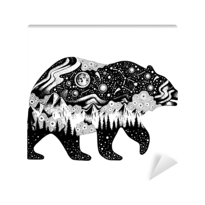 Bear Silhouette For T Shirt Print Or Temporary Tattoo Hand Drawn Surreal Design For Apparel Black Animal Night Forest Landscape Vintage Vector Illustration Sketch Isolated On White Background Wall Mural Pixers