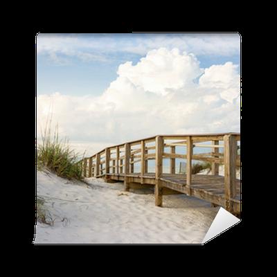 boardwalk in the beach sand dunes wall mural • pixers