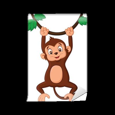 Cartoon Monkey Hanging In Tree Wall Mural Pixers 174 We