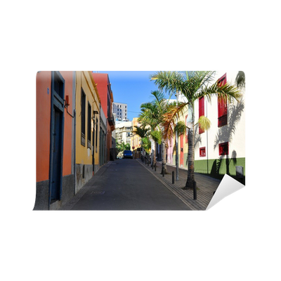 colorful houses on a street of santa cruz tenerife canaries wall mural pixers we live to change