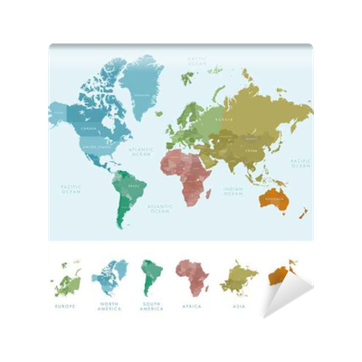 Continents and countries on the world map marked colored highly continents and countries on the world map marked colored highly detailed world map vector illustration wall mural pixers we live to change gumiabroncs Images