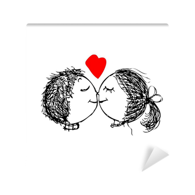 Couple In Love Together Valentine Sketch For Your Design Wall Mural Pixers We Live To Change