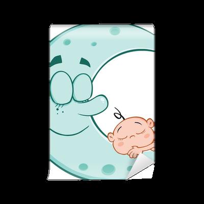 685f9d5314c2 Cute Baby Boy Sleeps On Blue Moon Cartoon Characters Wall Mural ...