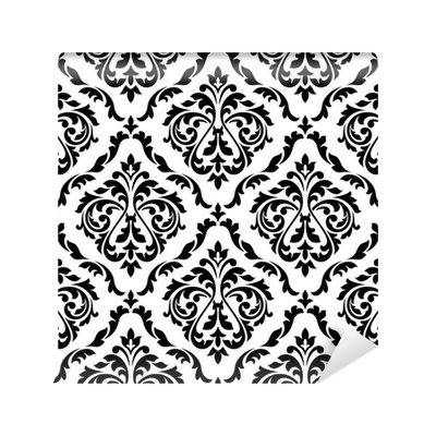 Damask Black And White Floral Seamless Pattern Wall Mural