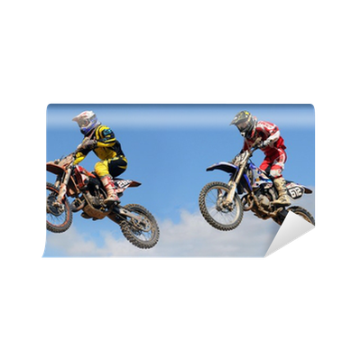 deux sauts au concours de motocross Wall Mural Pixers We live