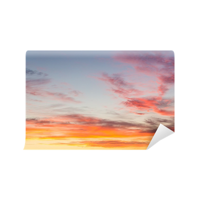 Dramatic sunset sky with orange colored clouds  Wall Mural • Pixers® - We  live to change