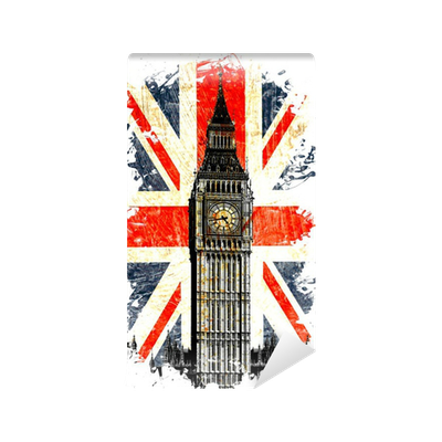 drapeau anglais big ben vertical wall mural pixers we live to change. Black Bedroom Furniture Sets. Home Design Ideas