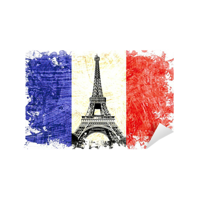 drapeau france paris tour eiffel wall mural pixers we live to change. Black Bedroom Furniture Sets. Home Design Ideas