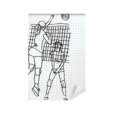 Girls Playing Volleyball Sketch Illustration Wall Mural Pixers We Live To Change