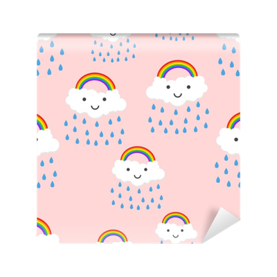 Happy Rainbow Emotion With Clouds Seamless Pattern Background Icon Business Flat Vector Illustration Rainbow Sign Symbol Pattern Wall Mural Pixers We Live To Change