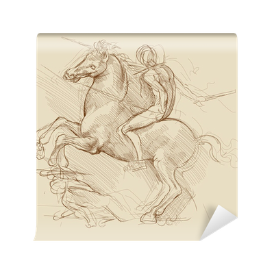 Horse And Rider Based On Drawing Of Leonardo Da Vinci Wall Mural Pixers We Live To Change
