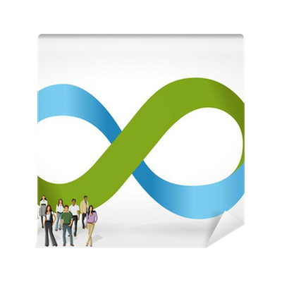 Infinity Symbol With Business People On Work Process Wall Mural