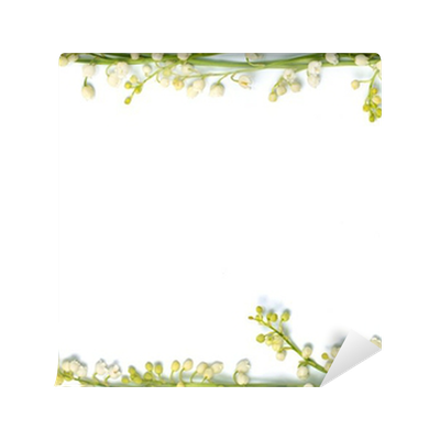 Lily Of The Valley Flowers On Paper Frame Border Isolated