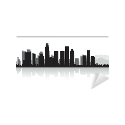 los angeles city skyline silhouette wall mural pixers we live