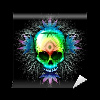 ca30d51e2 Marijuana Psychedelic Skull Wall Mural • Pixers® - We live to change