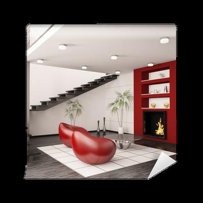 Modern Interior Wohnzimmer Mit Kamin Und Treppe 3d Render Wall Mural U2022  Pixers® U2022 We Live To Change