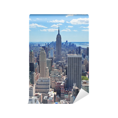 New york city empire state building wall mural pixers for Empire state building wall mural