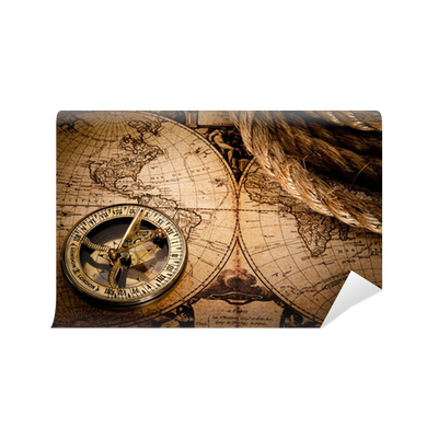Old Compass And Rope On Vintage Map 1752 Wall Mural O PixersR We Live To Change