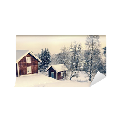 Old Rural Cottages In A Snowy Winter Landscape Sweden Wall Mural