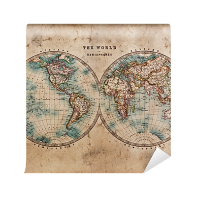 Old world map in hemispheres wall mural pixers we live to change gumiabroncs Gallery